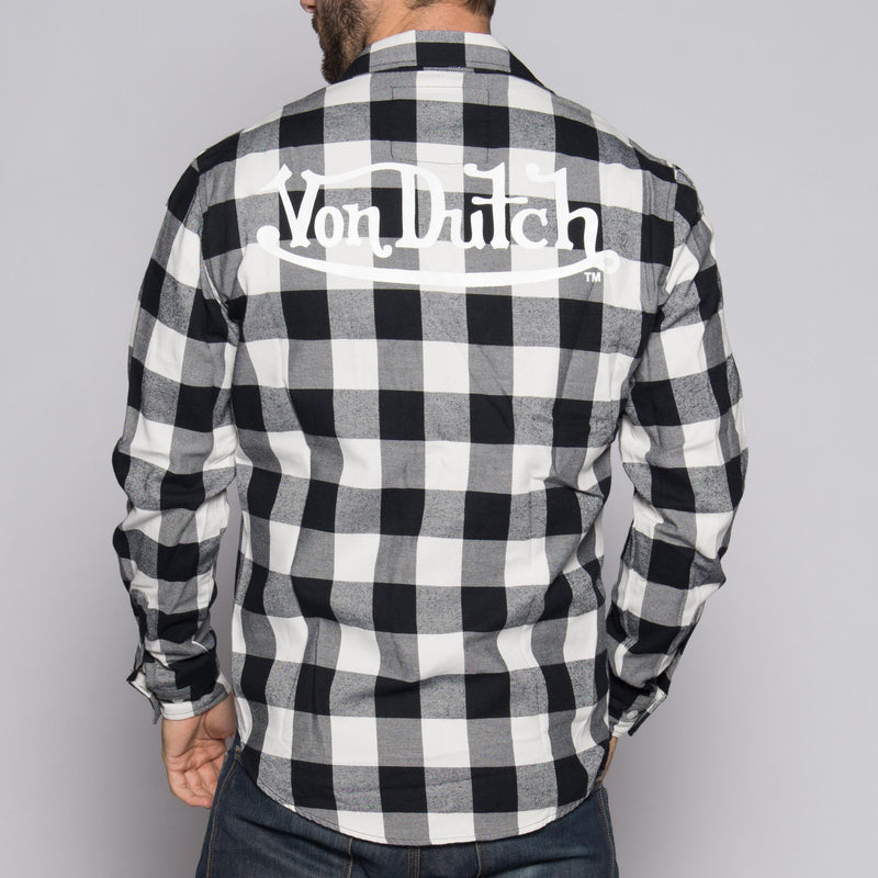 White/Black Von Dutch Flannel Shirt Back