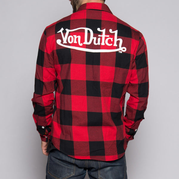 Red/Black Von Dutch Flannel Shirt Back