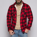 Red/Black Von Dutch Sherpa Lined Flannel Front