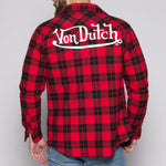 Red/Black Von Dutch Sherpa Lined Flannel Back,