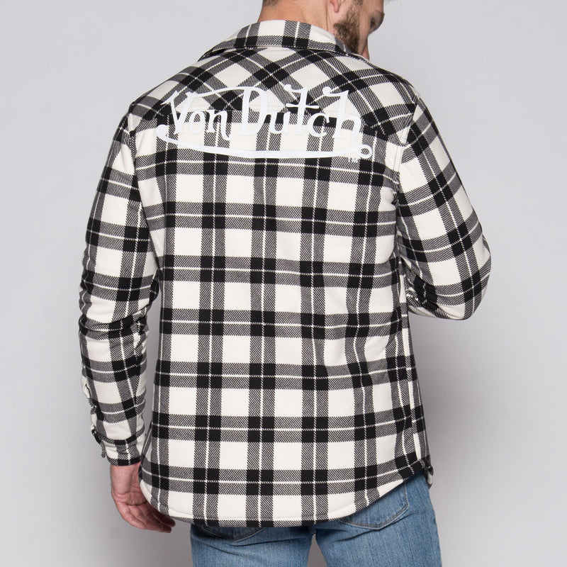 White/Black Von Dutch Sherpa Lined Flannel Back