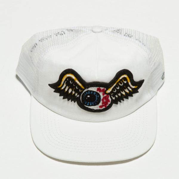 White Flying Eyeball Trucker Hat 4001