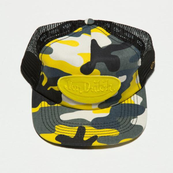 Yellow / Grey Camo Camo Trucker Hat 4009