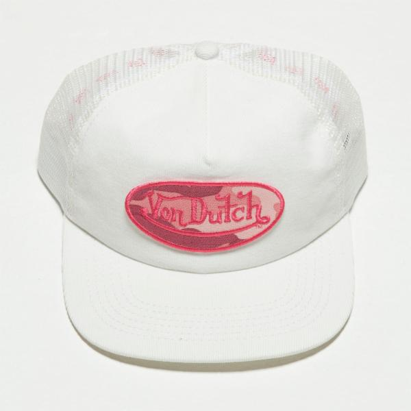 White VD Corduroy Trucker Hat 4023