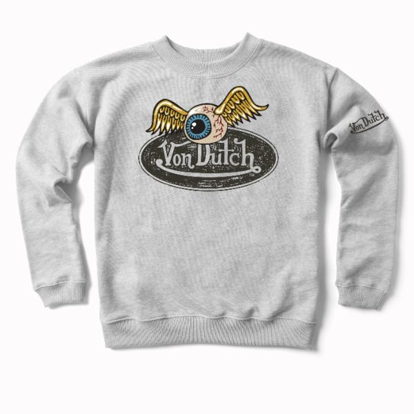Heather Grey VD Oval with Flying Eyeball Crewneck Sweater 600