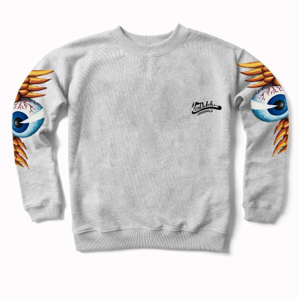 Heather Grey Flying Eyeball Crewneck Sweater 400