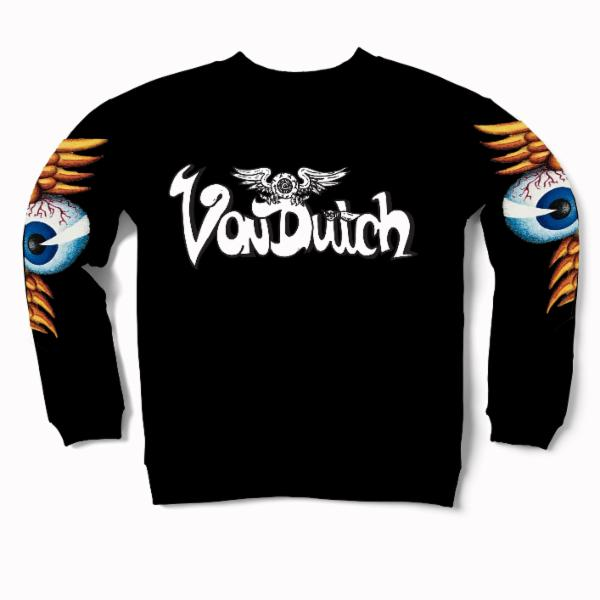Black VD Flying Eyeball Crewneck Sweater 500