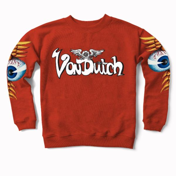 Orange Flying VD Eyeball Crewneck Sweater 500