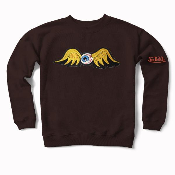 Espresso Flying Eyeball Crewneck Sweater 100
