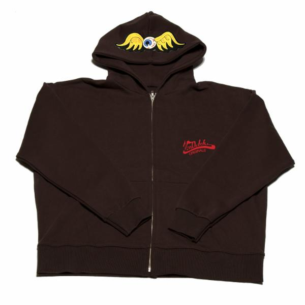 Espresso Flying Eyeball Zip Hoodie 500
