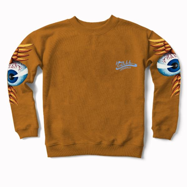 Mustard Flying Eyeball Crewneck Sweater 400