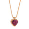 Pendant Rose Gold  Rhodolite Heart & Diamond