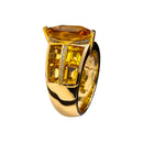 Ring gold Citrine center baguette &Diamond JR