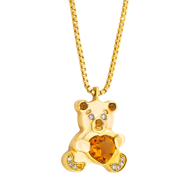 Pendant   Gold Citrine and Diamonds  Teddy Bear Cnp-0354-4