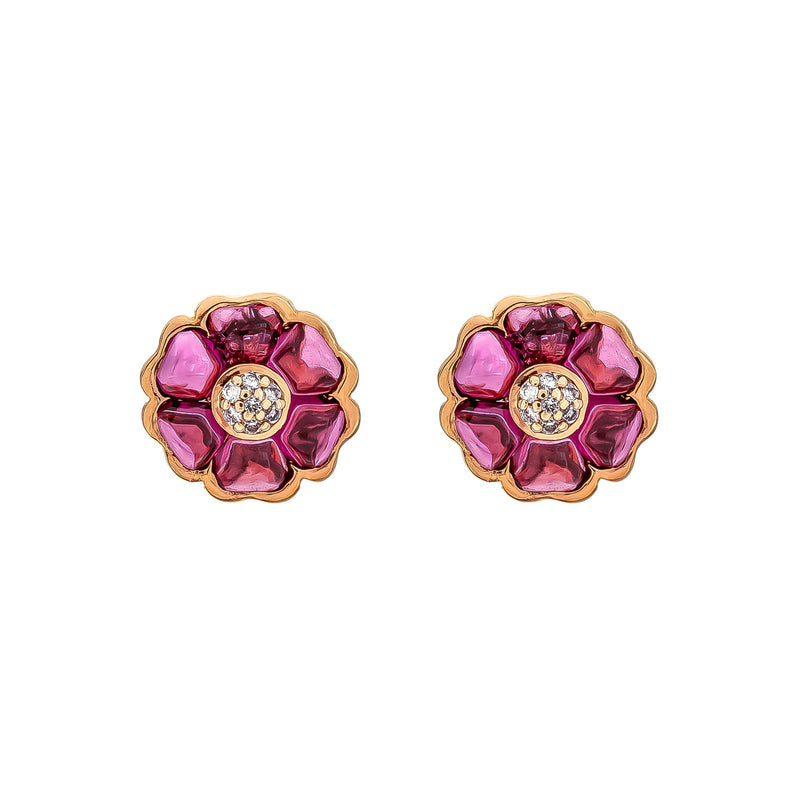 Earrings Rose Gold Rhodolite And Diamonds