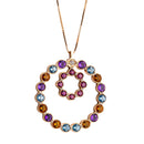 Pendant  RoseGold Circle  Multicolor Gems and Diamonds Cnp-0204-B-1