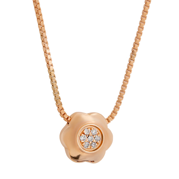 Pendant  Rose GOLD  flower  Diamond cnp-0199-71