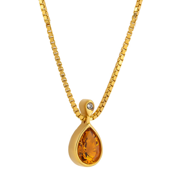 Pendant   Gold citrine and Diamonds Cnp-0272-87