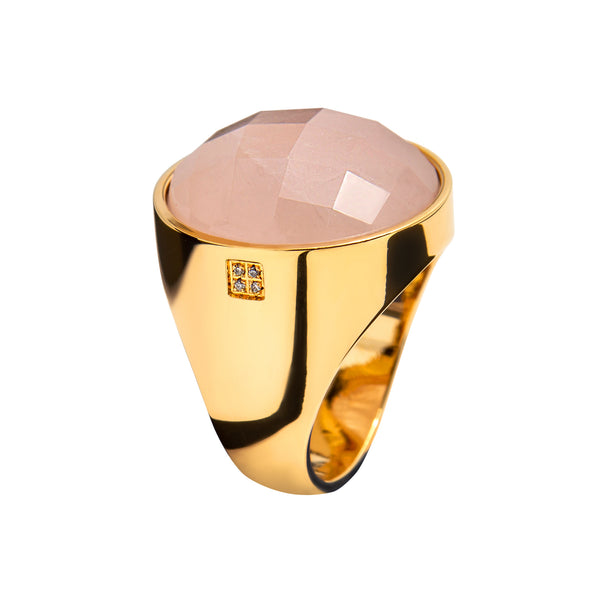 RING YELLOW GOLD Rose quartz LCD-3102/11