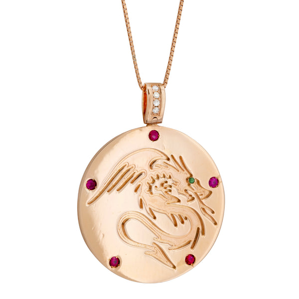 Pendant Dragon Ruby Rose Gold