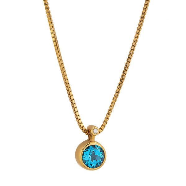 Pendant gold Topaz and Diamonds cnp-0270-114