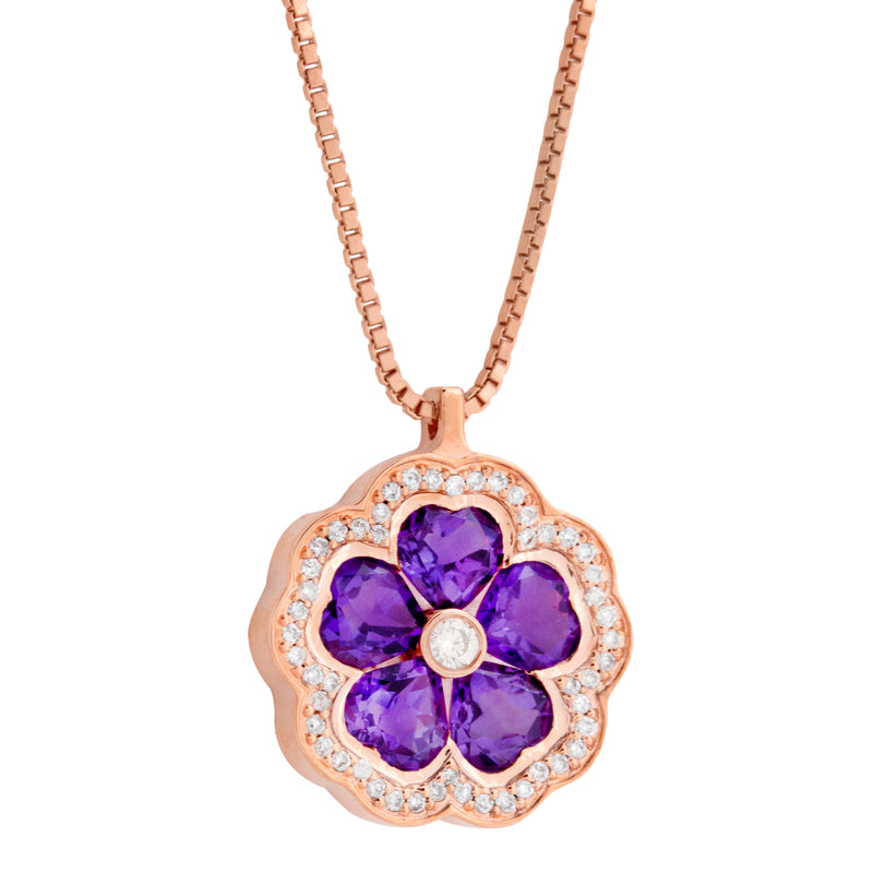 Pendant  RoseGold Amethyste and Diamonds Cnp-0185-25