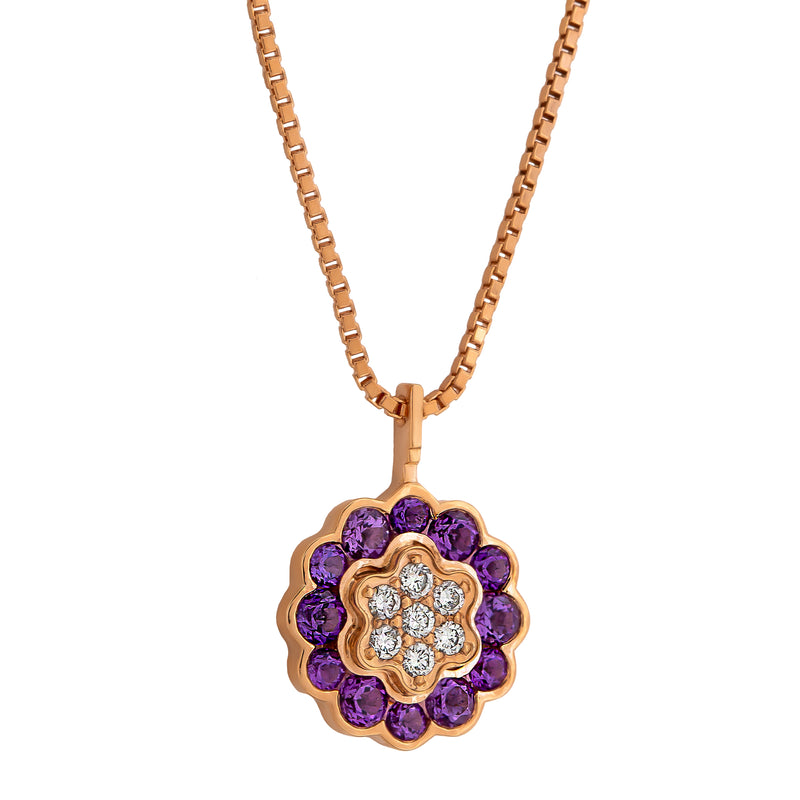 Pendant  RoseGold Flower Amethyste and Diamonds Cnp-0026-21