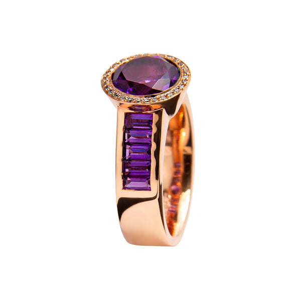 Ring Rose Gold Amethyst
