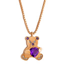 Pendant Rose gold Teddy Bear Amethyste  and Diamonds Cnp-0354-12