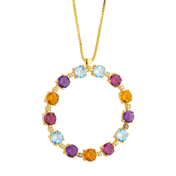 Pendant Gold Circle  Multicolor Gems And Diamonds