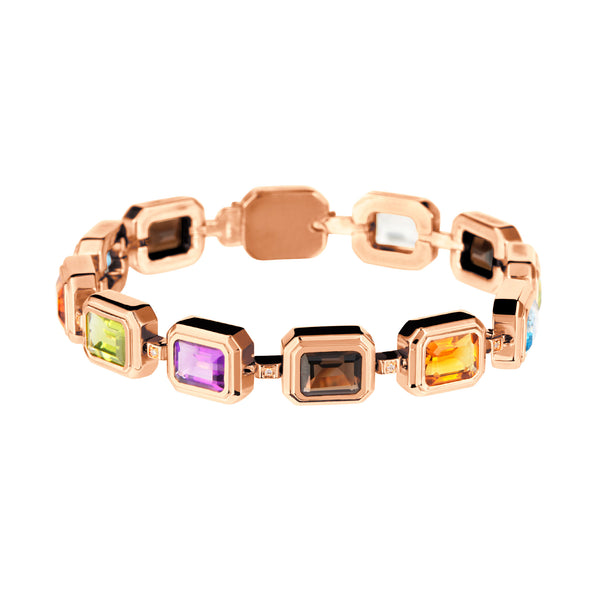 Bracelet Rose Gold Multicolour  Gems