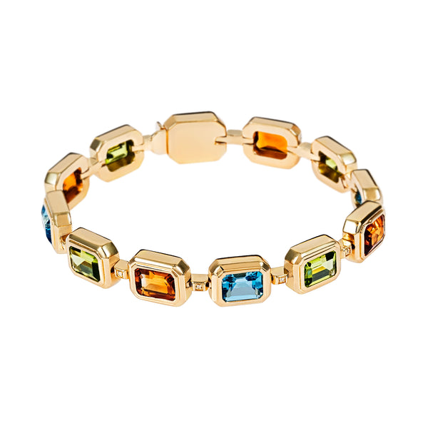 Bracelet Yellow Gold Multicolour  Gems