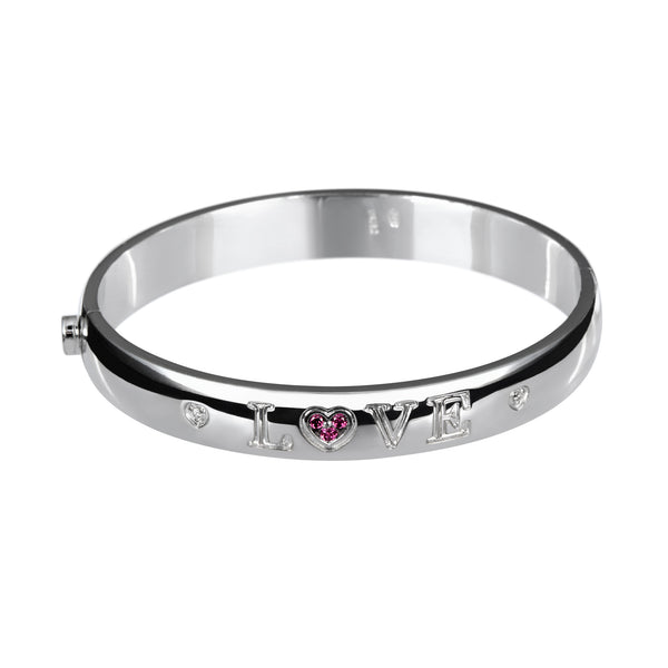 Bangle Love Silver Ruby & Diamonds
