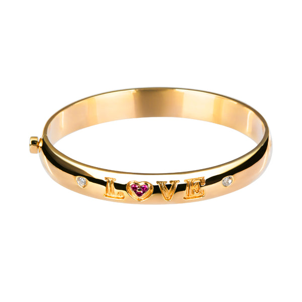 Bangle Love Yellow Gold Ruby &Diamonds