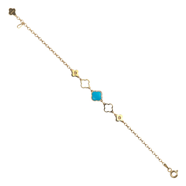 Bracelet Gold Turquoise And Diamonds