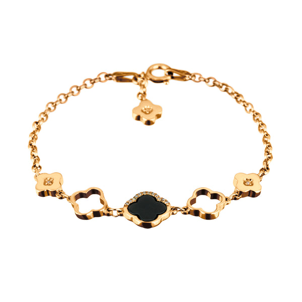 Bracelet Yellow Gold Onyx & Diamonds
