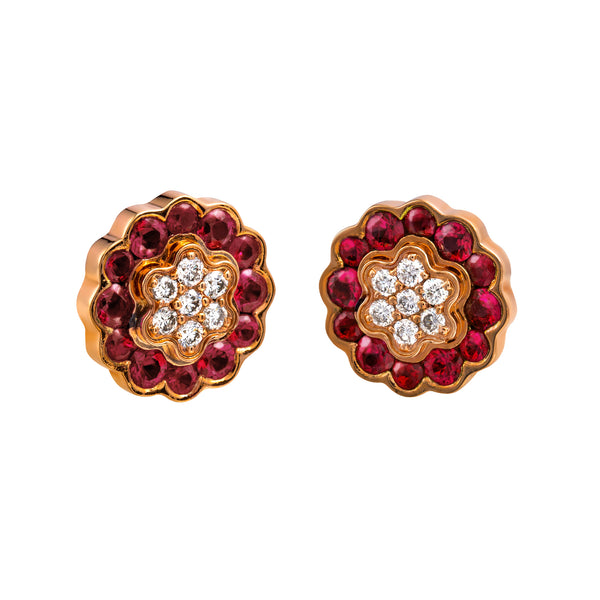 Earings Rose gold Ruby and Diamonds cne-0005/11