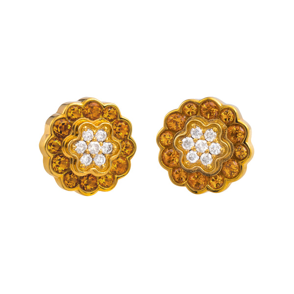Earings yellow gold Citrine and Diamonds cne-0005/30