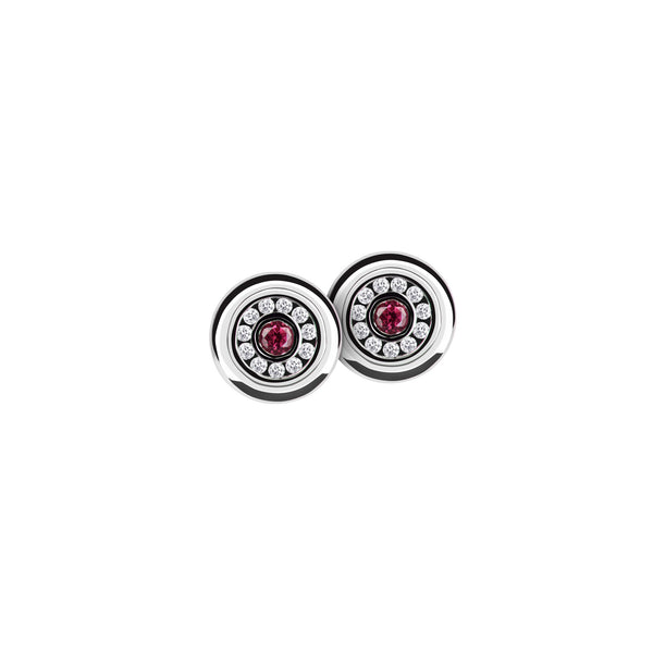 Earring Silver Diamond and Ruby