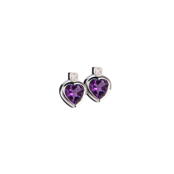 Earrings Silver Amethyst &Diamonds