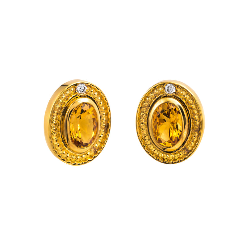 Earings Gold Citrine and Diamonds Cne-0026/1