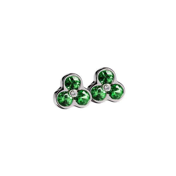 Earrings white Silver Tsavorite and Diamond CNE-0029/40