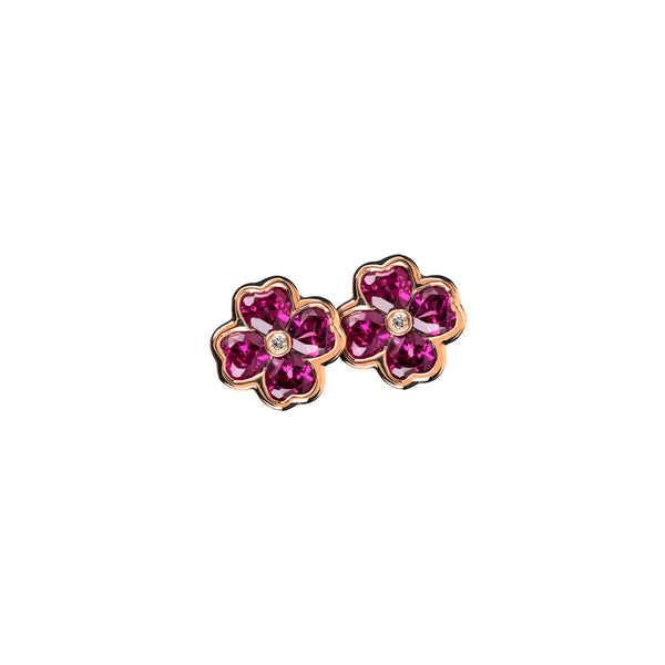 Earrings Rose Gold Rhodolite and Diamonds Cne-0031-25