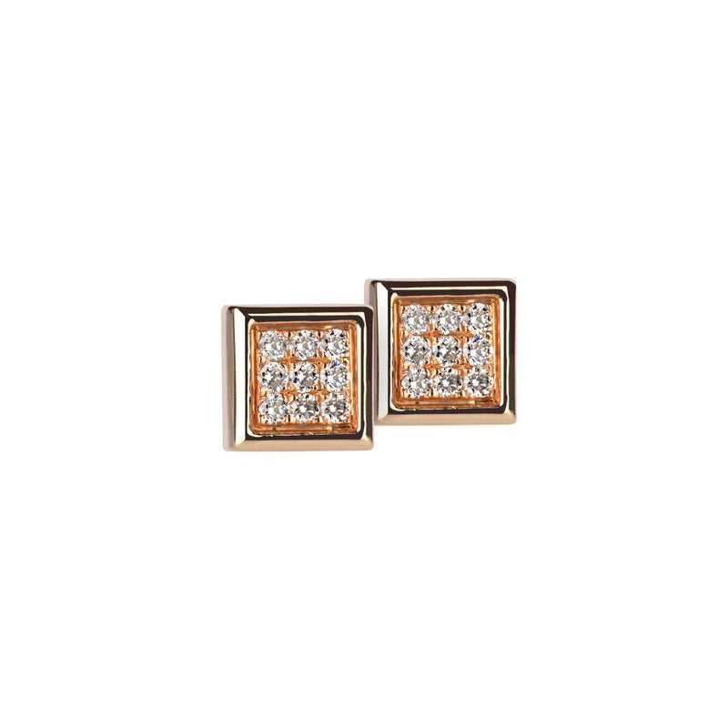Earrings Rose Gold Square Diamonds