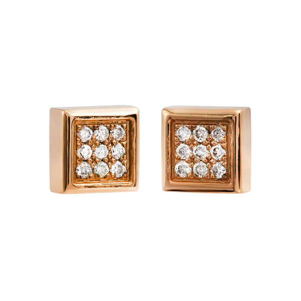 Earrings Rose Gold Square Diamonds Cne-0036/51
