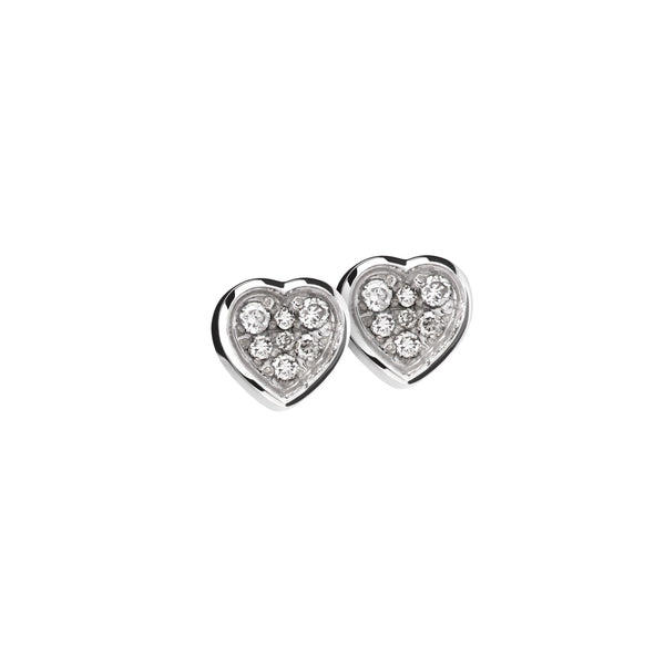 Earring Silver Diamond Heart