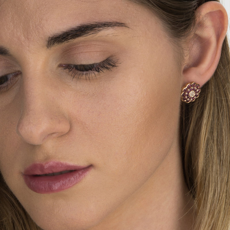 Earings Rose gold Rhodolite and Diamonds Model Barcelona