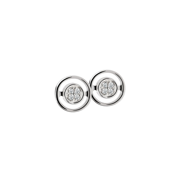Earring Silver Diamond Round