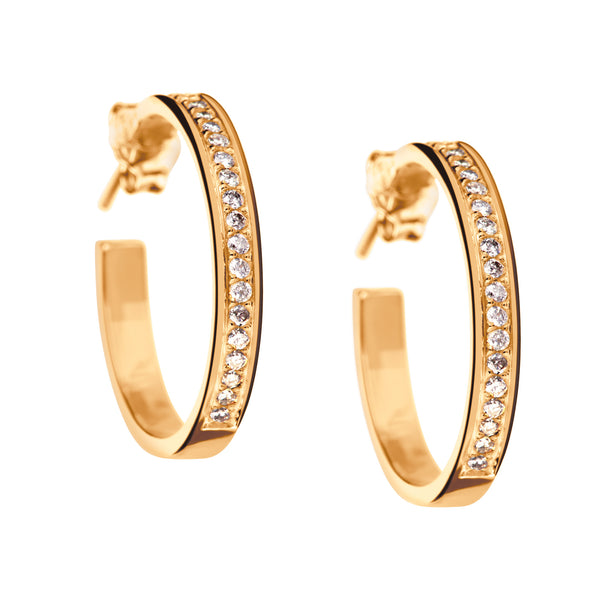Earrings Gold Round Diamonds