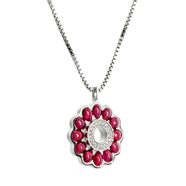 Pendant Silver Ruby & Diamonds
